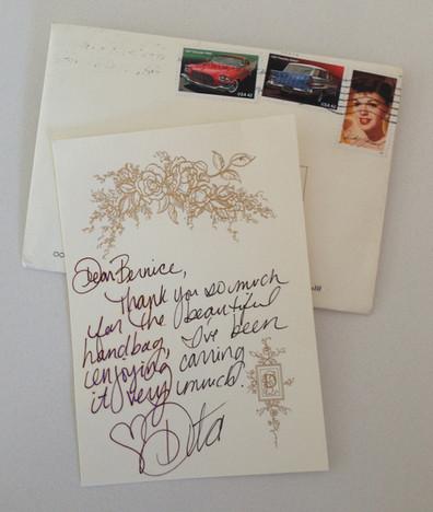Dita von Teese gorgeous thank-you note