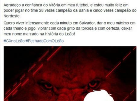 Em Rede Social, meia Gabriel Xavier anuncia acerto com o Vitória
