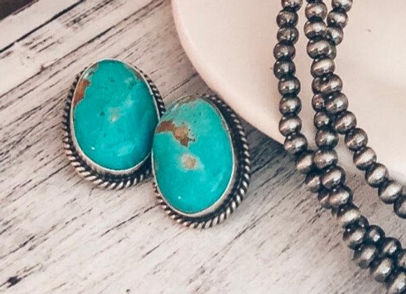 Genuine Turquoise Stud Earrings