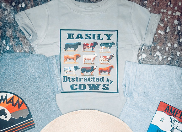 Kids Easily Distracted By Cows Tee