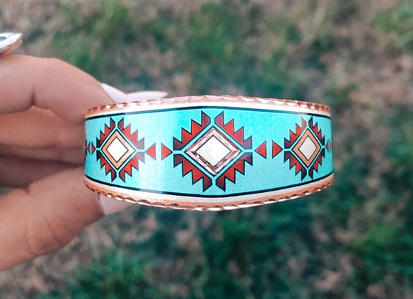 Turquoise Waters Adjustable Copper Cuff