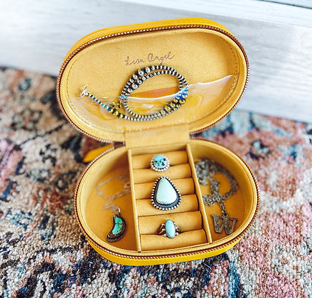Mustard Oval Jewelry Travel Case