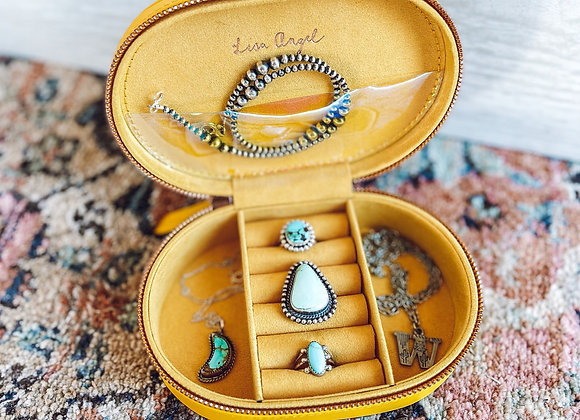 Mustard Oval Jewelry Travel Case