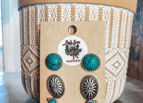 Turquoise Lightning Earring Set