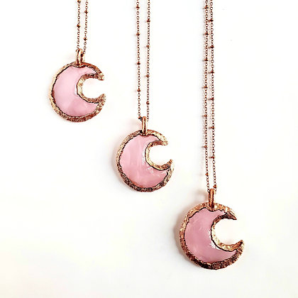 Knapped Rose Quartz Crescent Moon Necklace