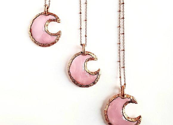 Knapped Rose Quartz Crescent Moon Necklace