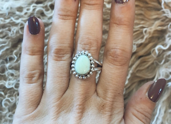 Med. Oval Pale Blue Turquoise Ring Sz. 9