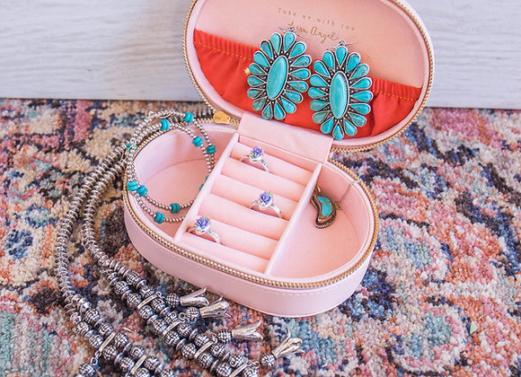 Pink Sorbet Oval Jewelry Travel Case
