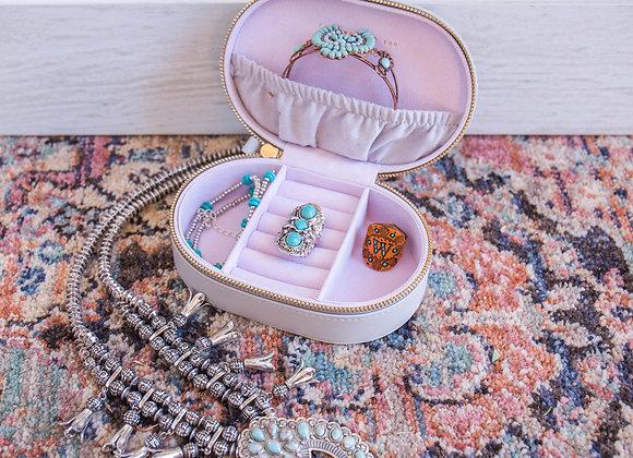 Grey Skies Oval Jewelry Travel Case