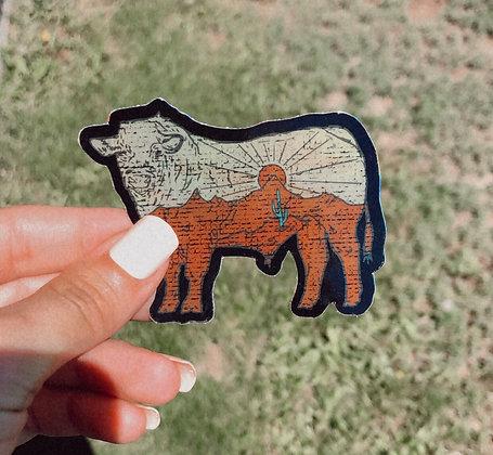 Desert Drifter Bull Shimmer Sticker