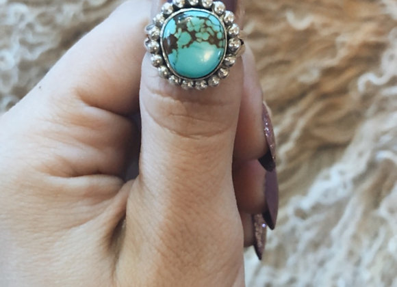 Round Turquoise Ring Sz. 6