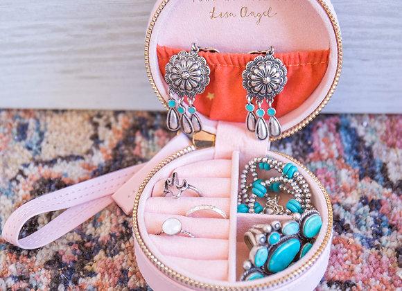 Pink Sorbet Round Travel Jewelry Box