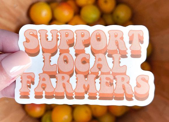 Retro Support Local Farmers Sticker