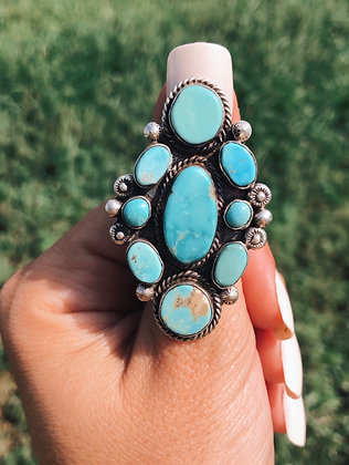 Large Genuine Turquoise Cluster Ring