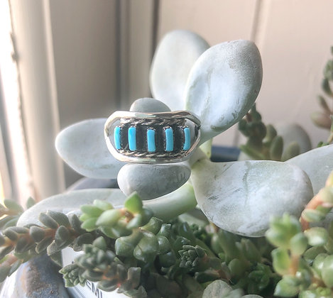 Genuine Turquoise Five Stone Ring