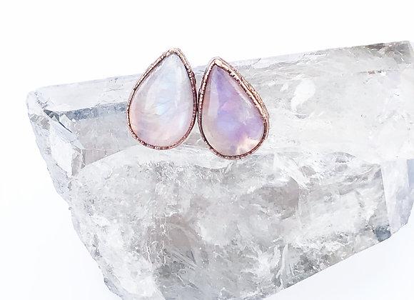 Teardrop Rainbow Moonstone Earrings