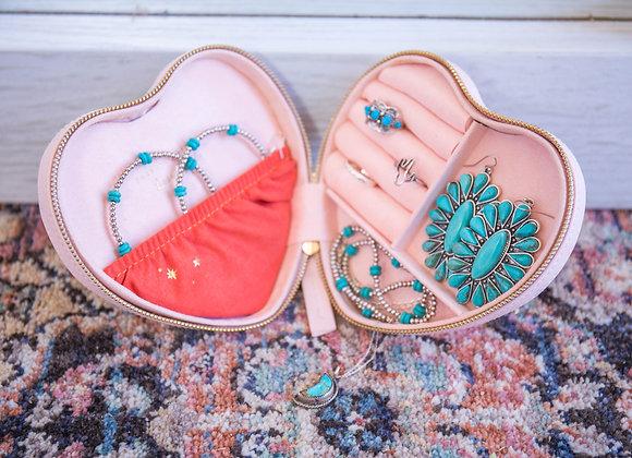 Pink Sorbet Heart Travel Jewelry Box