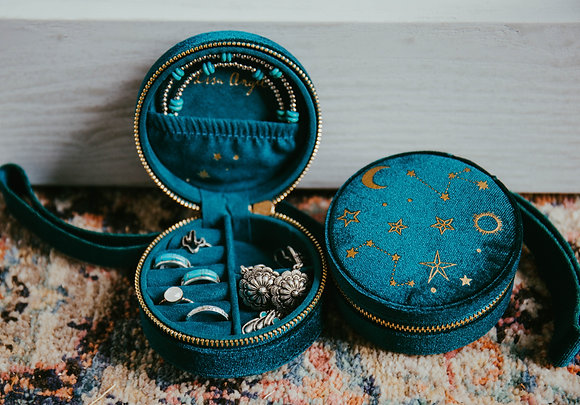 Emerald Velvet Round Jewelry Case