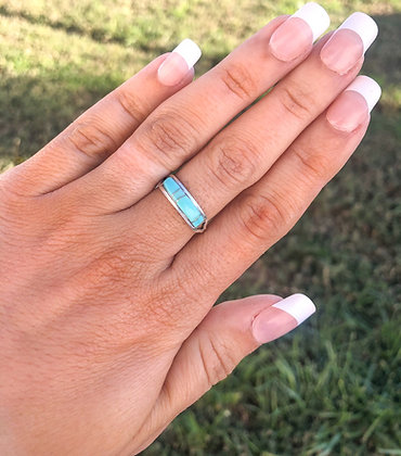Genuine Turquoise Band Ring