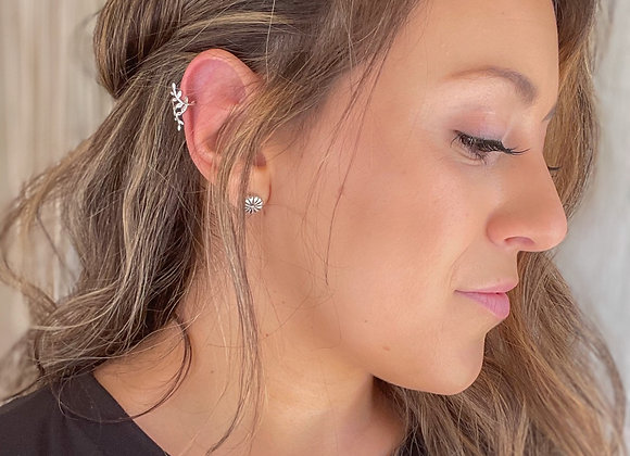 Sterling Silver Floral Ear Cuff