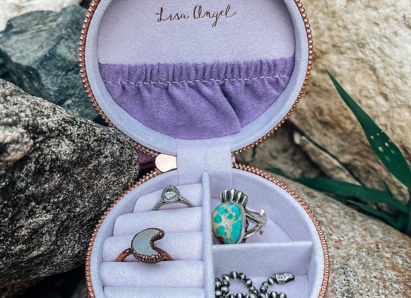 Lavender Round Travel Jewelry Case