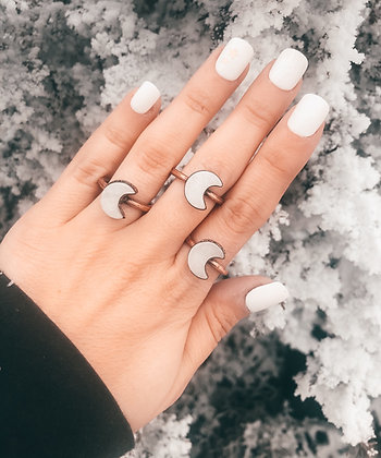 White Quartz Moon Ring