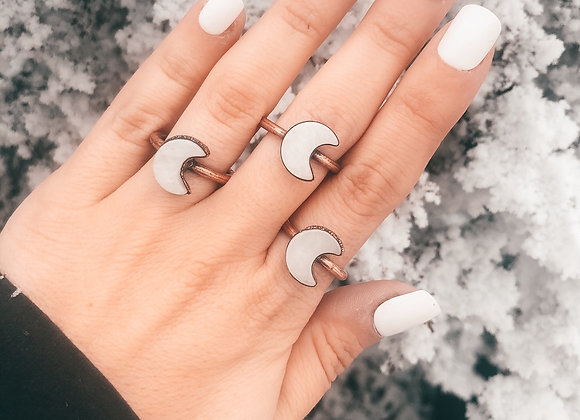 White Quartz Moon Ring