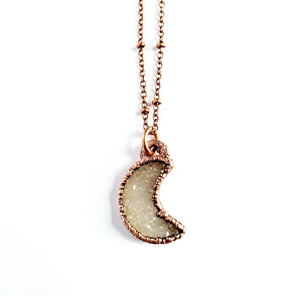 Petite Druzy Crescent Moon Necklace