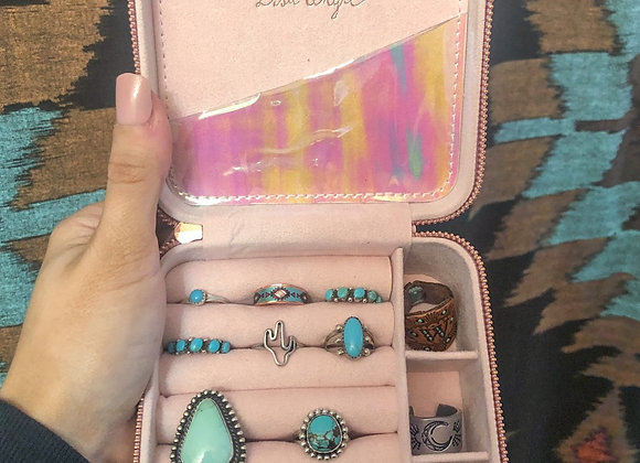 Lavender Square Travel Jewelry Case