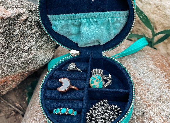 Teal/Navy Round Travel Jewelry Case