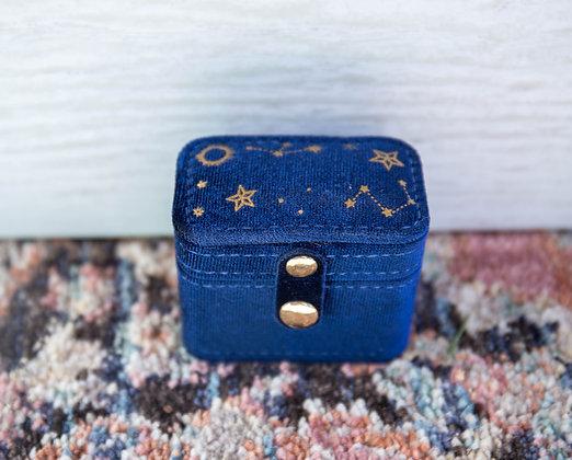 Navy Velvet Starry Night Ring Case