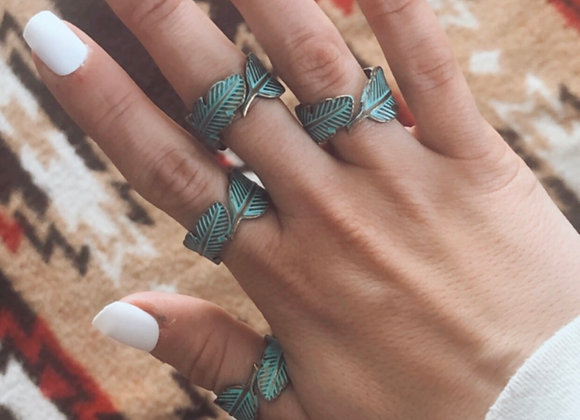 Teal Feather Ring