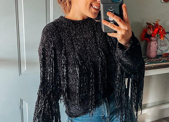 Dallas Fringe Sweater Blk