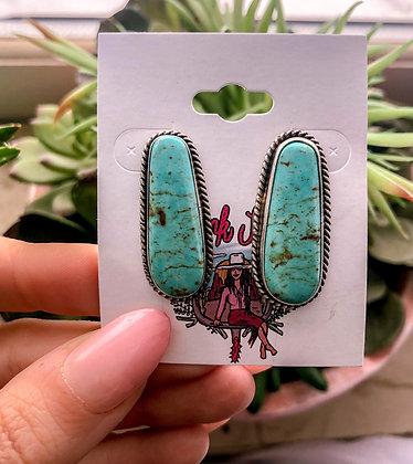Genuine Turquoise Oblong Post Earrings