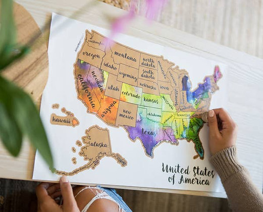 Scratch Off Water Color Map