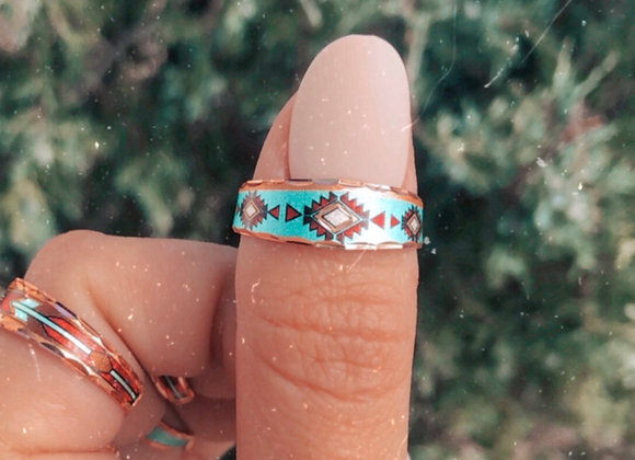 Turquoise Waters Slim Adjustable Copper Ring