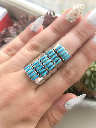 Genuine Turquoise Five Stone Inlay Ring