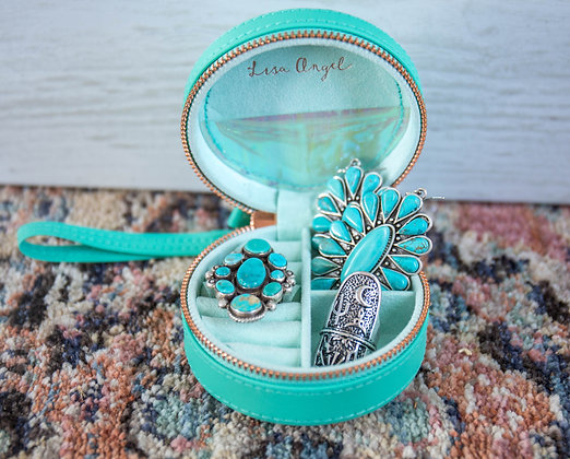 Teal/Mint Round Travel Jewelry Case