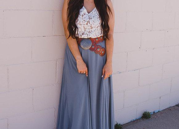 Steel Grey Saratoga Maxi Skirt