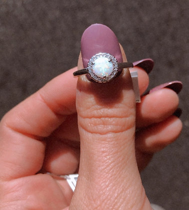 Sterling Silver Opal Ring Sz . 6