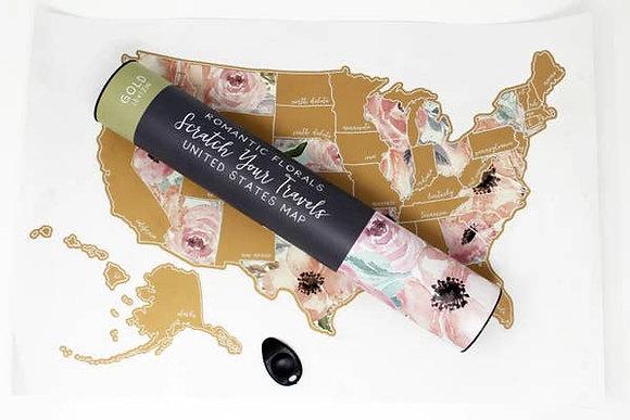 Scratch Off Floral Map