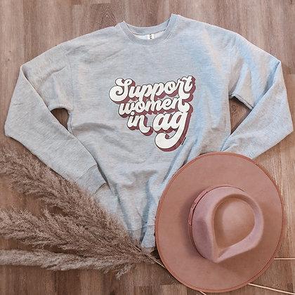 Gray Support Women in Ag Retro Sweatshirt