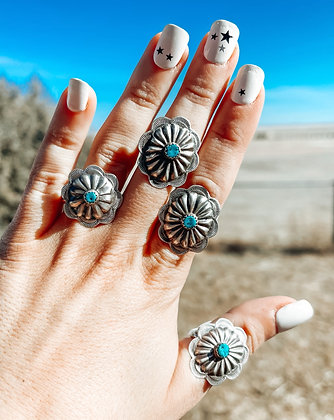Sterling Silver Genuine Turq. Concho Ring