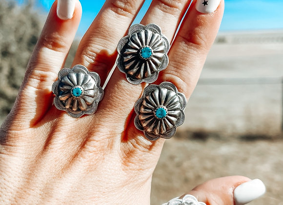 Sterling Silver Genuine Turq. Concho Ring