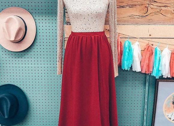 Red Saratoga Maxi Skirt