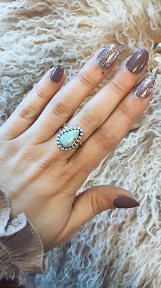 Pale Blue Pear Turquoise Ring Sz. 6