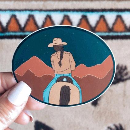 Mountain Stars Cowgirl Sticker