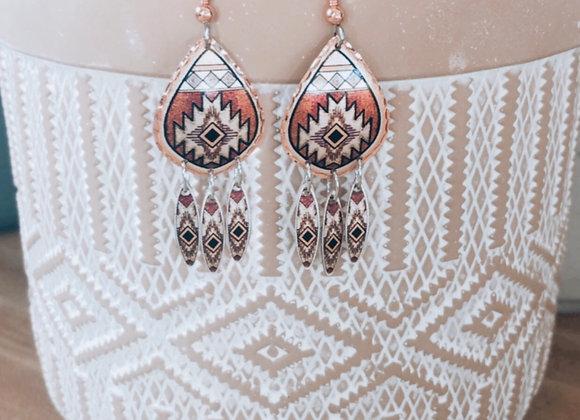 Amber Sunset Copper Earrings