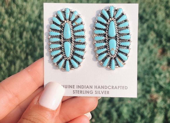 Genuine Turquoise Cluster Earrings