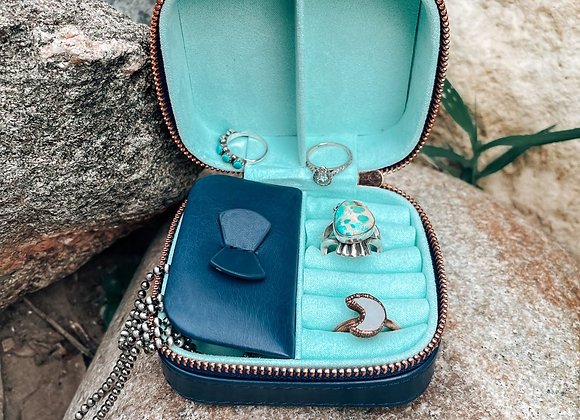 Navy Small Square Travel Jewelry Case